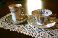 Vintage Doily with Vintage Teacups