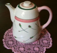 Vintage Pink Doily with Vintage Teapot