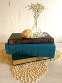 Vintage Books with Doilies