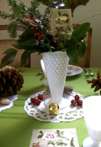 Vintage Milk Glass with Doily