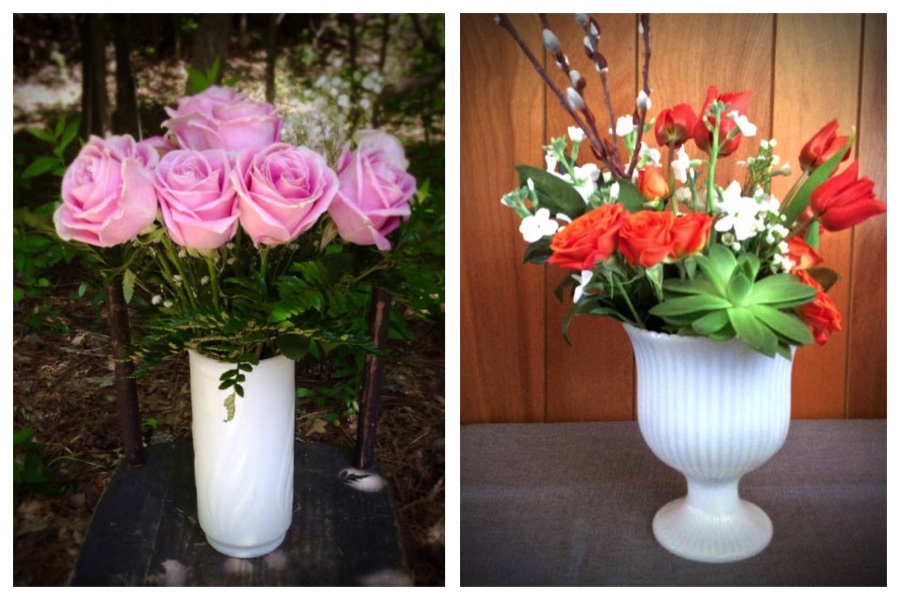 Milk Glass Vase Rental