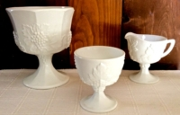 Vintage Milk Glass Sugar and Creamer