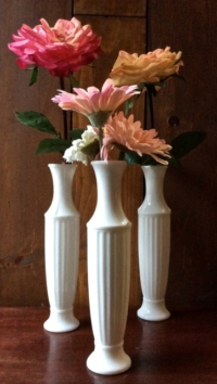 Three Vintage Milk Glass Vases with Flowers