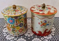Pair of Vintage Floral Tins