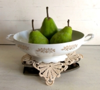 Flat Iron Stand with Bowl Filled with Pears