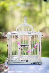 Vintage White Birdcage as Decor