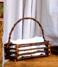 Vintage Twig Basket with Vintage Napkins