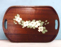 Vintage Dogwood Wooden Tray