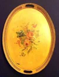 Vintage Oval Yellow Floral Tray-Large