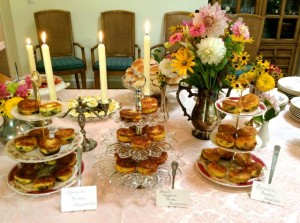 Baby Shower Buffet withVintage  Tiered Stands