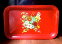 Vintage Red Vintage Painted Floral Metal Tray