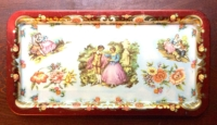 Vintage Red Floral Metal Tea Tray
