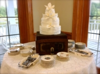 Wedding Cake on Vintage Record Player