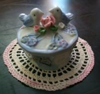 Vintage Doily with Porcelain Trinket