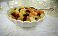 Vintage Milk Glass Compote Filled with Fruit