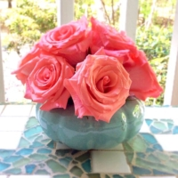 Vintage Teal Planter with Roses
