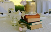 Vintage Centerpiece with Book Stack