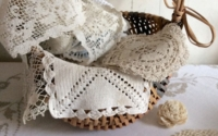 Basket of Vintage Doilies