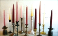 Assorted Vintage Candle Holders with Colored Candles
