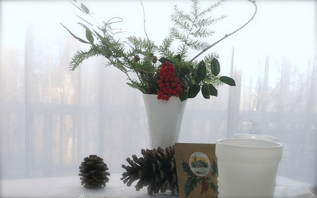 Large Milk Glass Vase with Winter Foliage