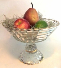 Vintage Gold Rimmed Glass Compote With Fruit