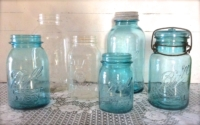 Vintage Blue and Clear Mason Jars