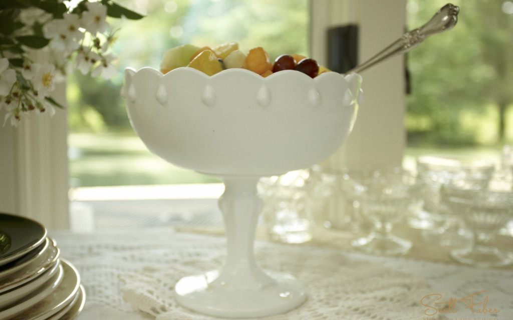 Large Tear Drop Milk Vintage Milk Glass Compote Filled with Fruit