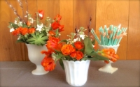Assorted Vintage Milk Glass Vases with Flowers and Straws