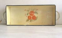 Vintage Yellow Floral Metal Handled Tray
