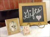 Vintage Shower Gift Sign on Table