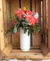 Vintage Milk Glass Vase with Flowers