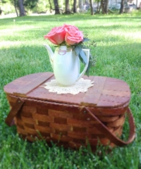 Vintage Picnic Basket with Doily and Flowers