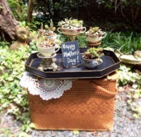 Vintage Picnic Basket with Tray