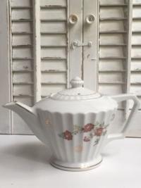Vintage Burgundy Floral Teapot