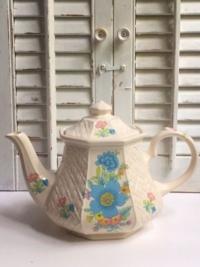 Vintage Teal Floral Teapot