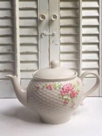 Vintage Embossed Pink Floral Teapot