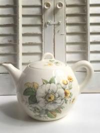 Vintage Yellow Floral Teapot