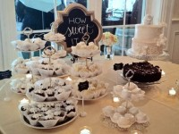 Wedding Dessert Table with Vintage Tiered Stands