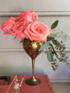 Vintage Brass Goblet with Roses