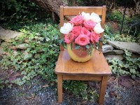 Vintage Child's Chair with Bouquet