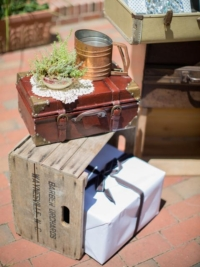 Vintage Small Suitcase on Crate