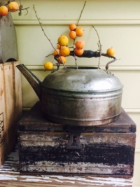 Vintage Metal Kettle on Vintage Cash Box