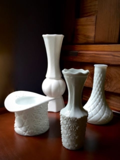 Assorted Vintage Milk Glass Vases