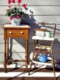 Vintage Small Table with Vintage Stool