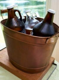Vintage Brass Tub with Beer