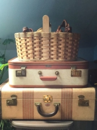 Vintage Brown Two Toned Suitcases