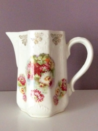 Vintage Flowered Ceramic Pitcher