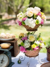 Vintage Basket Tiered Stand with Florals