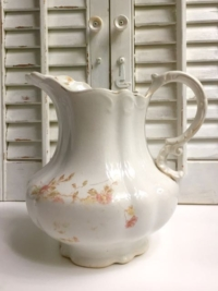 Vintage White Pink Floral Pitcher