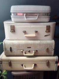 Vintage White Suitcases